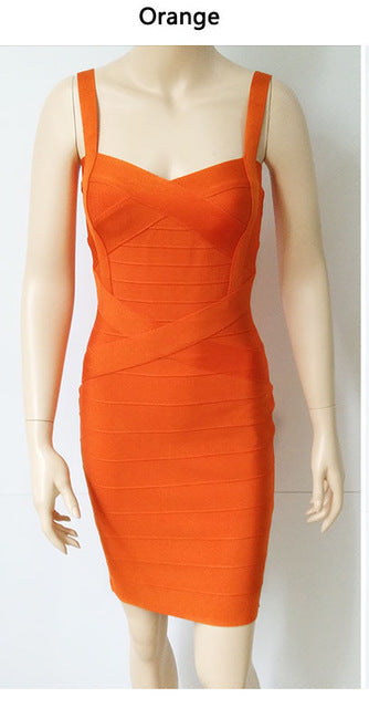 Sexy Spaghetti Strap Rayon HL Elastic Celebrity Bandage Dress - Forefront Outfitters Inc.