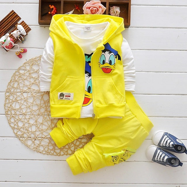 2018 Boys Clothes Suits Cartoon Donald Duck Baby Kids Boys Outerwear Hoodie Jacket Baby Sport Boys Clothing Sets Suits