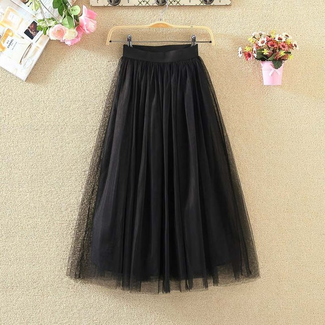 d8b94709dd 2018 Summer vintage skirts womens Elastic High Waist tulle mesh Skirt long Pleated  tutu skirt women
