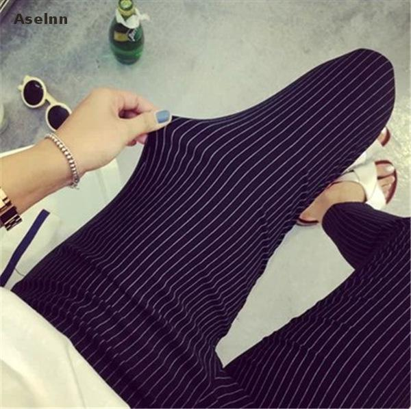2018 Spring&summer New Fashion Women Vertical Striped Pants  Female Pencil Ankle-length Pants White Black Pants