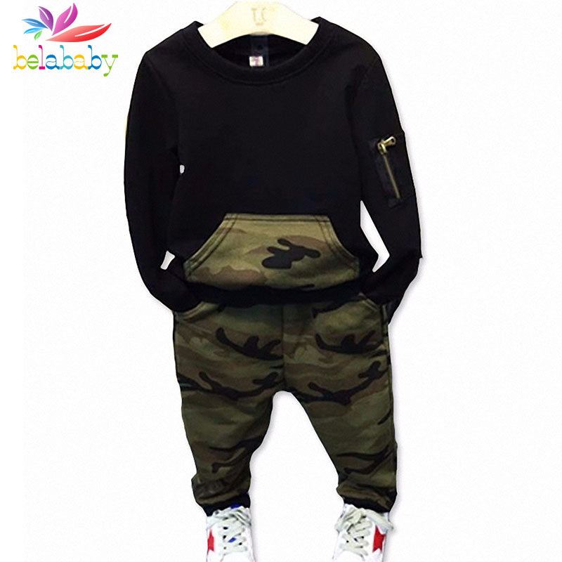 Boys Clothing Sets Baby Spring Sports Casual Long Sleeve Shirt+Pants Kids 2PCS Camouflage Kids Tracksuit For Boys