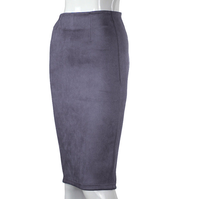 Women Skirts Suede Solid Color Pencil Skirt Female Autumn Winter High Waist Bodycon Vintage Suede Split Thick Stretchy Skirts - Forefront Outfitters Inc.