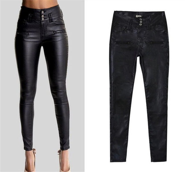 2018 New Winter elegant ladies fashion PU leather Leggings wild Slim pencil trousers feet leather pants brand design women dress