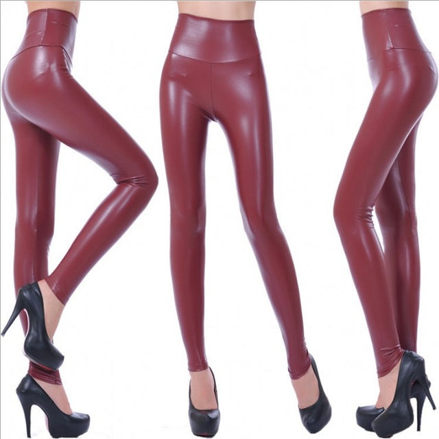 Womens Fashion Black PU Leather Leggings Pants For Female Plus Size Autumn Spring Sexy Stretch Slim Skinny Legging Trousers F80 - Forefront Outfitters Inc.