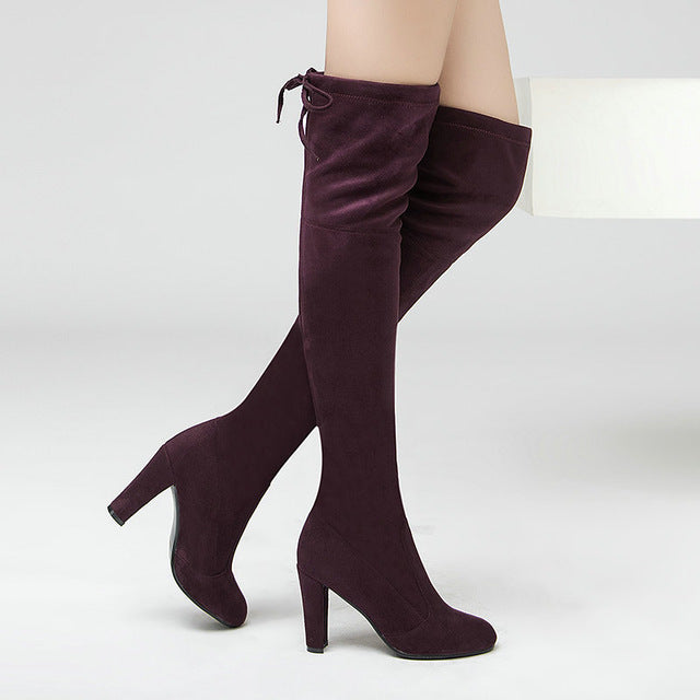 Women Stretch Faux Suede Thigh High Boots Sexy Fashion Over the Knee Boots High Heels Woman Shoes Black Gray - Forefront Outfitters Inc.