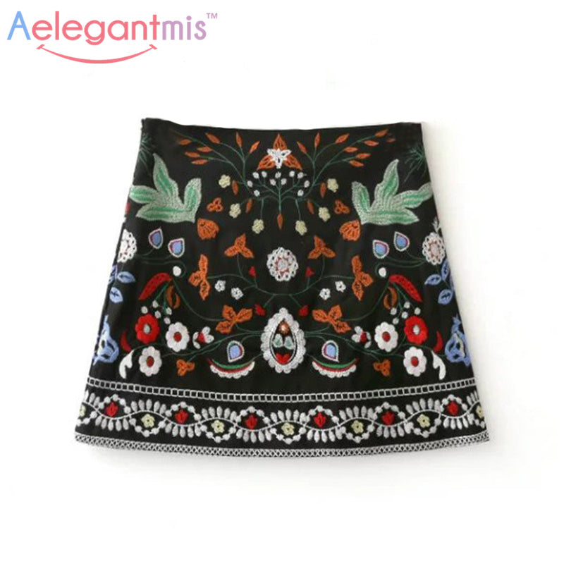 Spring 2018 A-Line Mini Ethnic Women Skirts Short Black Embroidered Skirt High Waist Floral Vintage Embroidery Skirts Female - Forefront Outfitters Inc.