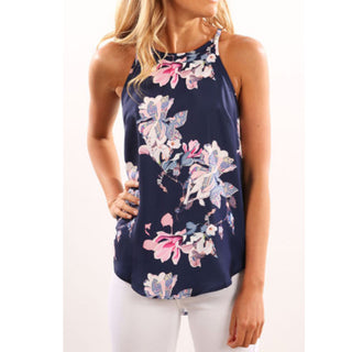 Casual Elegant OL Floral Blouse Slim Sleeveless Work Wear Tops
