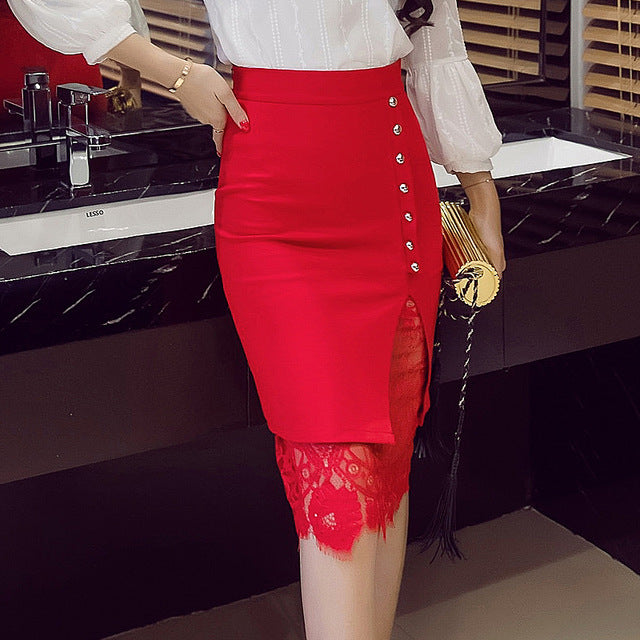 Women's Skirt High Waist Pencil Skirt Summer 2018 Fashion Women Knee Length Lace Patchwork Lady Formal Work Skirts Plus Size - Forefront Outfitters Inc.