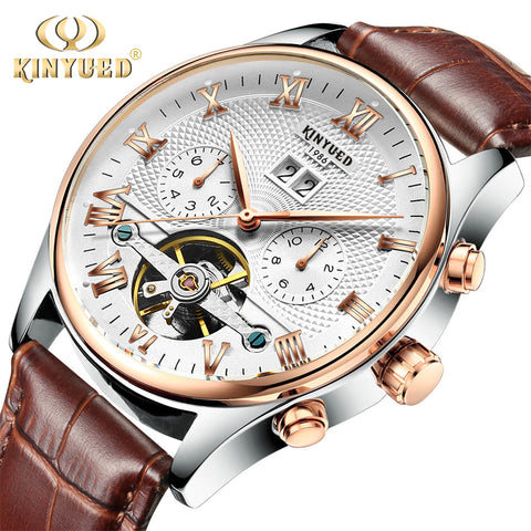 Skeleton Tourbillon Mechanical Watch Men Automatic Classic Rose Gold Leather Mechanical Wrist Watches Hombre 2018 - Forefront Outfitters Inc.