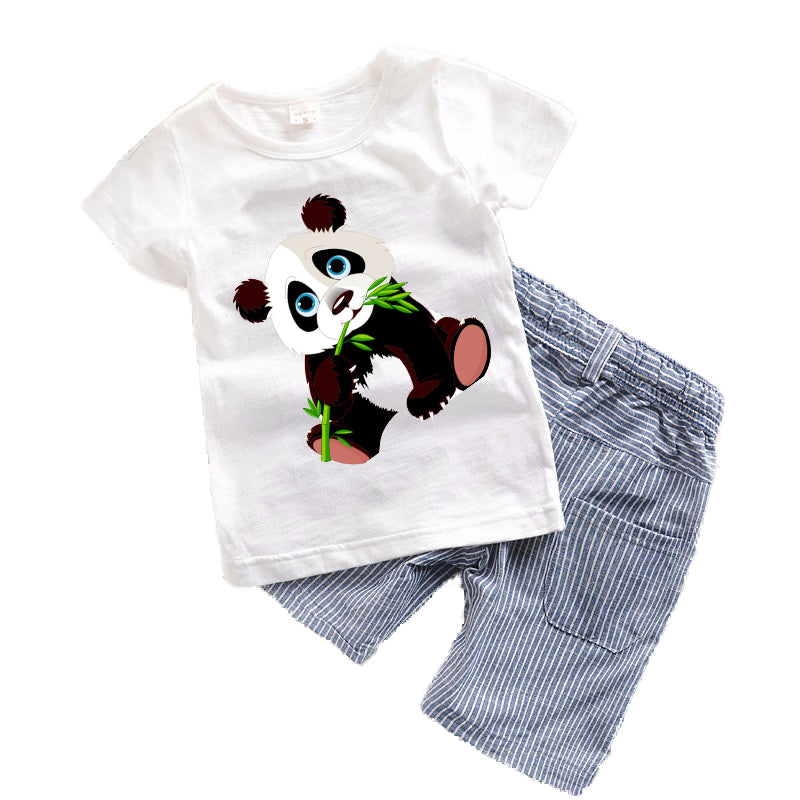 2018 Baby boys clothes Summer Toddler boy clothing sets Cartoon Children clothes Kids Costume Panda Dinosaur Boys clothing T7