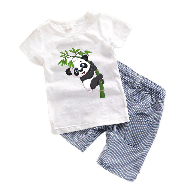 5f977189d633 2018 Baby boys clothes Summer Toddler boy clothing sets Cartoon Children  clothes Kids Costume Panda Dinosaur