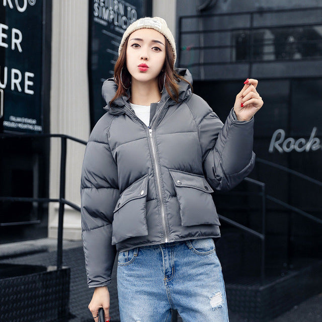 Winter Fashion Women Jackets Short Design Cute Cotton Padded Pink Coats Causual Warm Hoodies Loose Padded Parkas Casaco Feminino - Forefront Outfitters Inc.