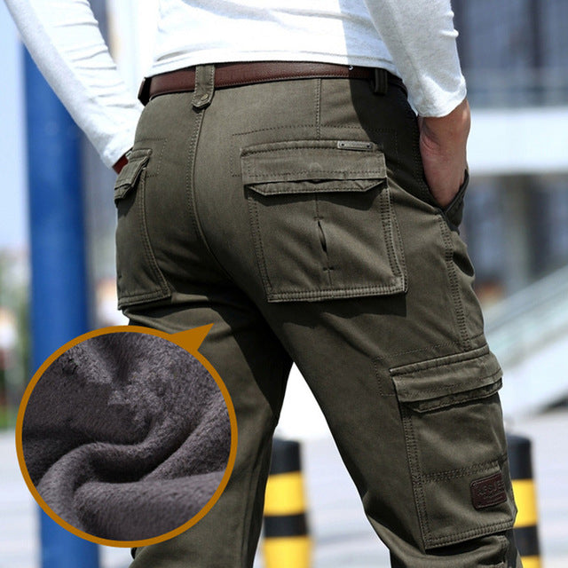 2018 Fleece Warm Winter Cargo Pants Men Casual Loose Multi-pocket Men's Clothes Military Army Green Khaki Pants 237