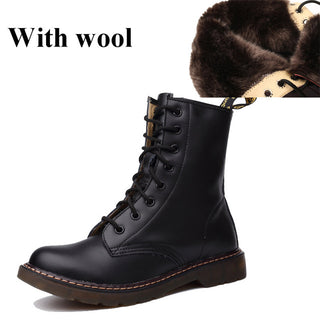 2018 Genuine leather women martin boots winter warm shoes female motorcycle ankle fashion boots women
