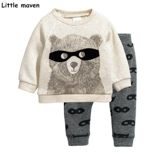Children's clothing sets 2018 autumn new boys Cotton brand long sleeve glasses bear print t shirt + pants 20177