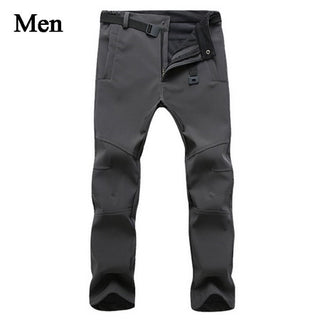 Stretch Waterproof Casual Pants Men Winter Warm Fleece Shark Skin Trousers Male Black Sweatpants Men's Work Pants,AM054 - Forefront Outfitters Inc.