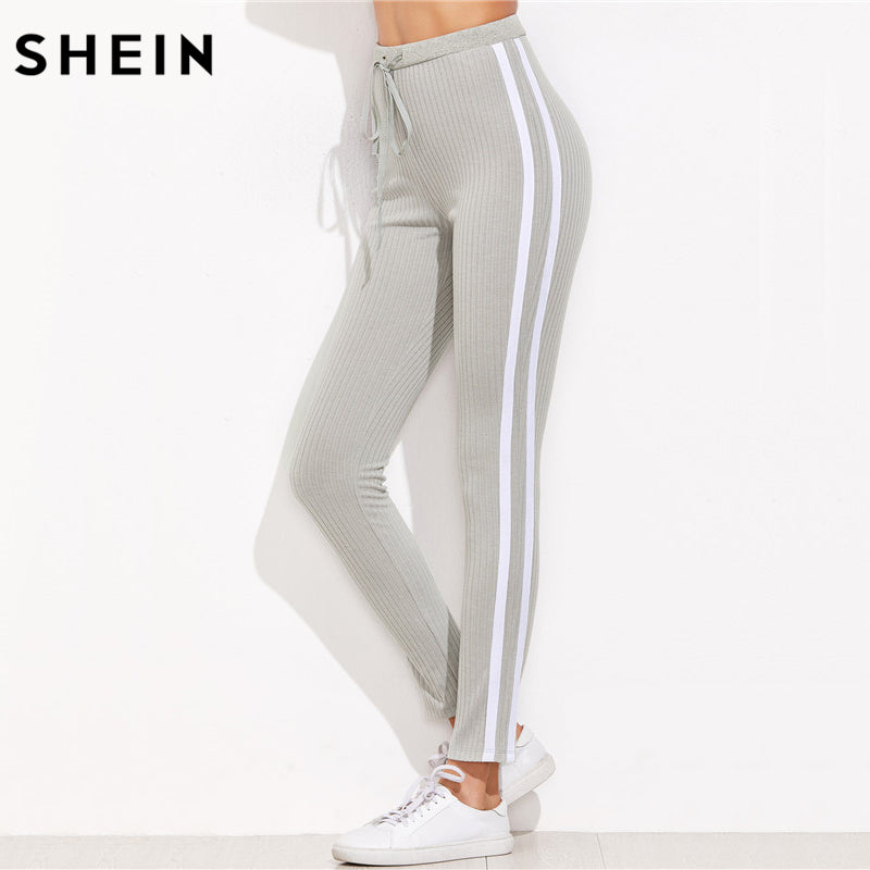 High Waist Pants Trousers Women Drawstring Waist Skinny Pants Grey Ribbed Knit Striped Side seam Sweatpants