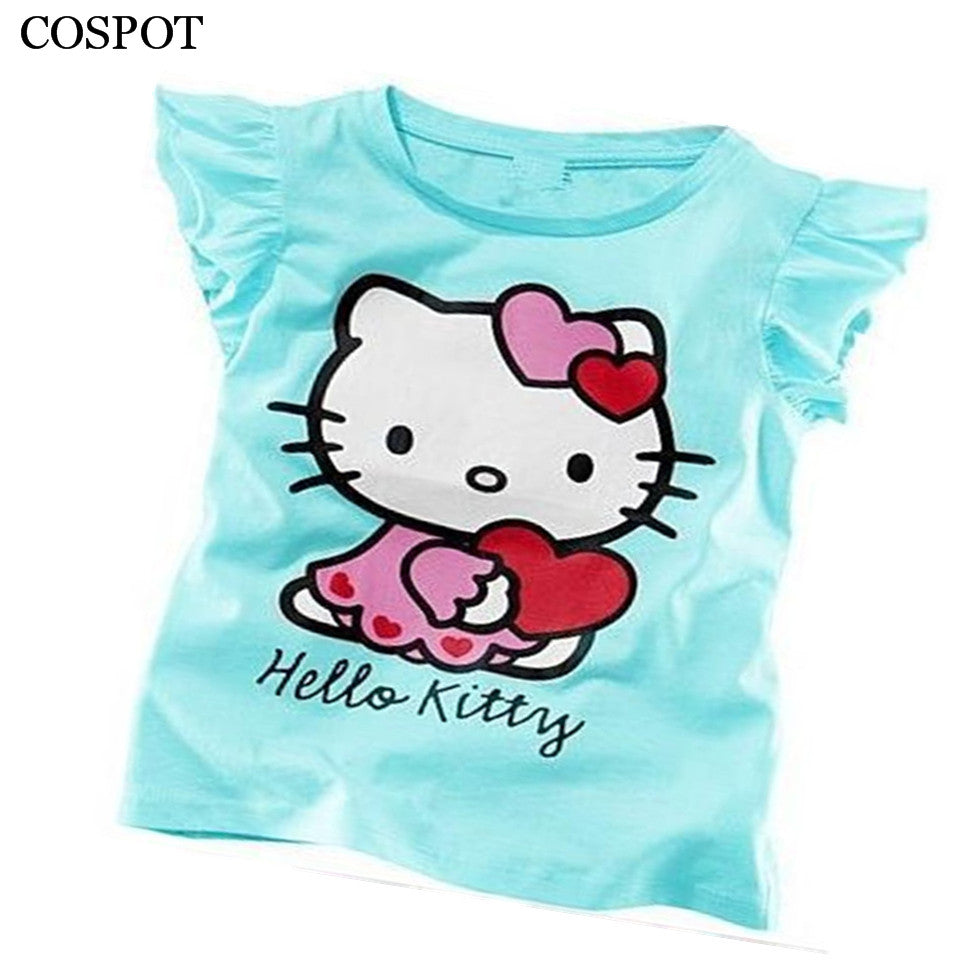 d448a5878d75c Baby Girls Summer Hello Kitty T shirt Girl Cute Cotton T-shirt 2018 New  Arrival 10C