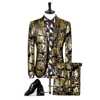 (jacket+pants) New Fashion brand male singer men suit spring casual suit slim fit groom party wedding gold stamping suit