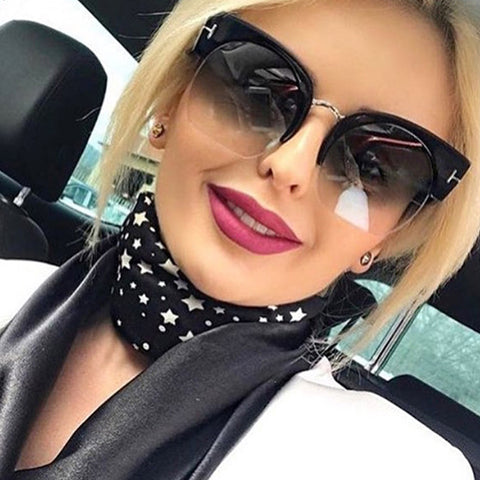 RSSELDN Newest Semi-Rimless Sunglasses Women Brand Designer Clear Lens Sun Glasses For Women Fashion Sunglass Vintage oculos - Forefront Outfitters Inc.