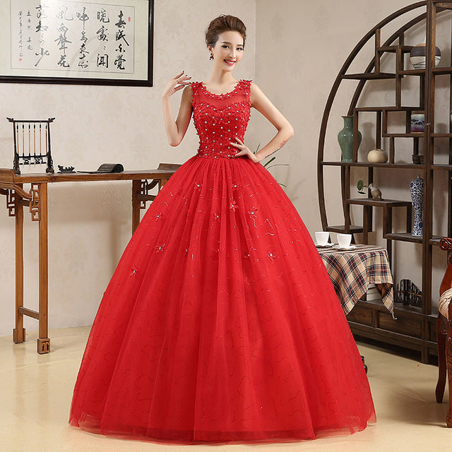Red Retro Korean Style Big Long Train Wedding Dress 2018 Vestidos De Novia Princess Bridal Lace with Flowers - Forefront Outfitters Inc.