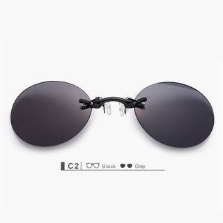 Fashion Clip On Nose Sunglasses Men Vintage Mini Round Sun Glasses Hacker Empire Matrix Morpheus Rimless Sunglasses UV400 - Forefront Outfitters Inc.