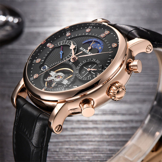 New 2018 Men Full-automatic Mechanical Watch Tourbillon Luxury Fashion Brand Genuine Leather Man Multifunctional Watches