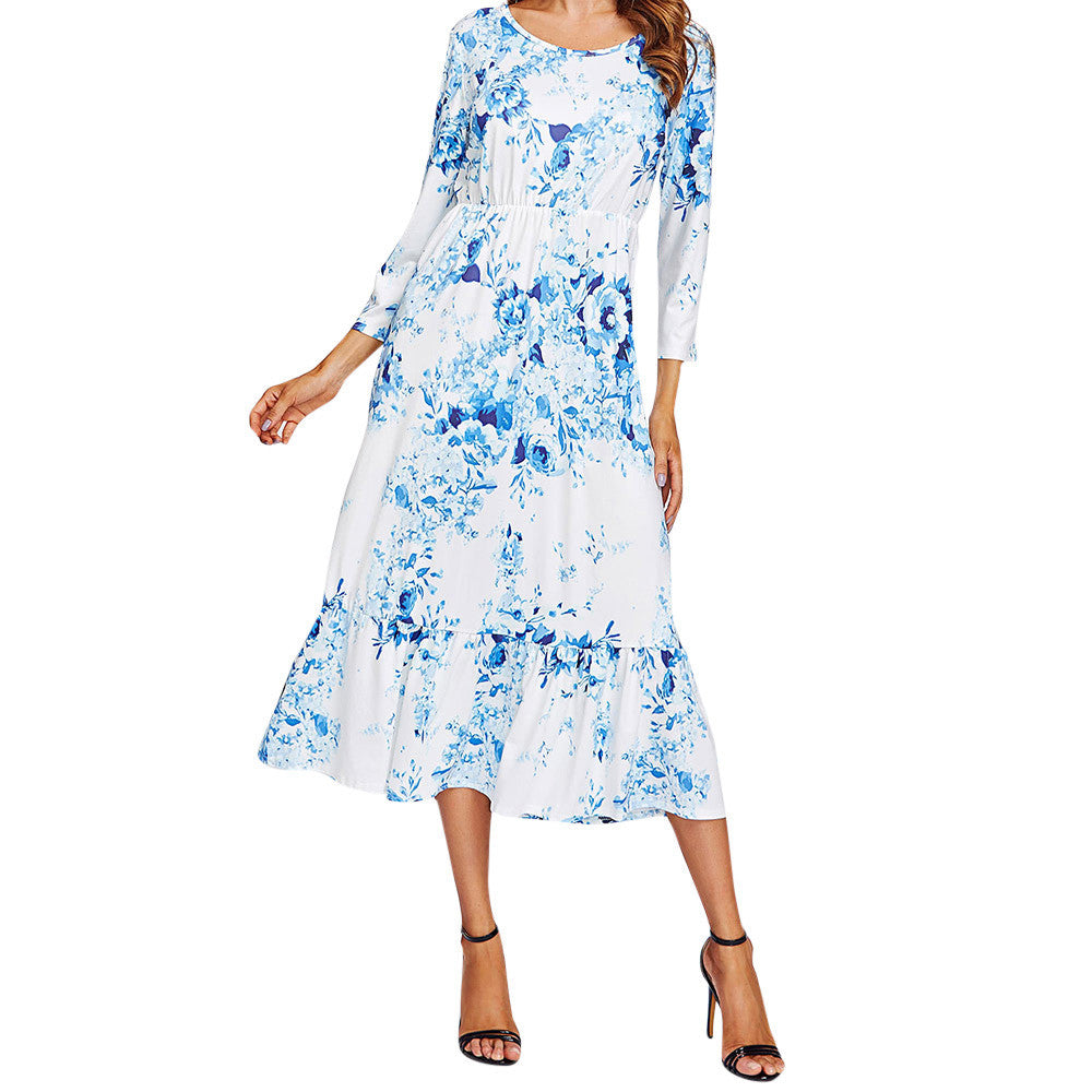 Boho Summer Autumn Dress Women Casual Floral Print Wrist Sleeve O Neck Mid-Calf Dress vestidos verano 2017