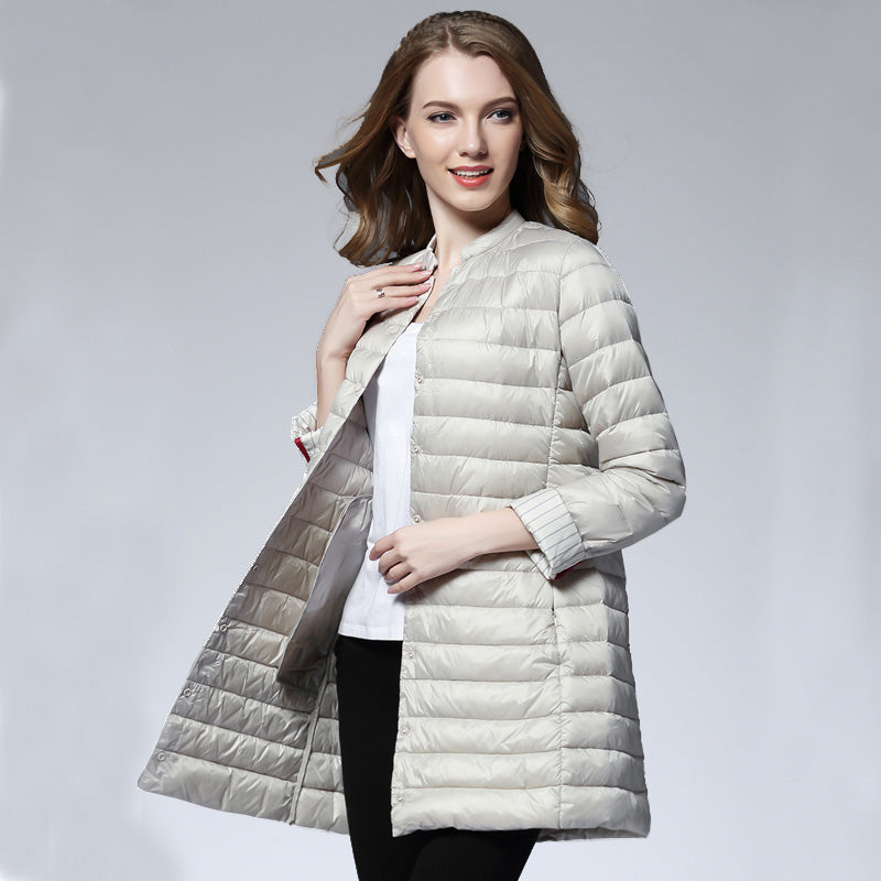 Woman Spring Padded Warm Coat Ultra Light Duck Down Jacket Long Female Overcoat Slim Solid Jackets Winter Coat Portable Parkas - Forefront Outfitters Inc.
