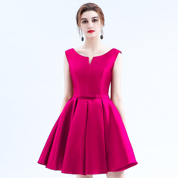 New fashion fuchsia vestido de noiva short design Champange color lace up bridal party cocktail dress