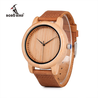 Bamboo Wood Watches for Men and Women Fashion Casual Leather Strap Wrist Watch Male Relogio C-A15