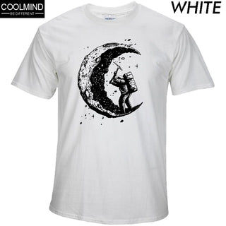 100% cotton digging the moon print casual mens o-neck t shirts fashion men's tops men T-shirt short sleeve men tshirt 2018