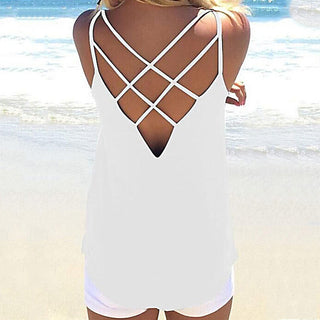 High Quality Women Summer Sleeveless Spaghetti Strap Solid Hollow Out Thin Cool Loose Charming Sun-Top Sexy Vest