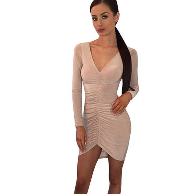 Women Sexy Sheath Dress Folded Long Sleeves V-neck Solid Slim Irregular Mini Dress vestidos Party Dresses - Forefront Outfitters Inc.