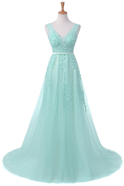 Vestido De Festa Fashion Sweet Light Blue Lace V-neck Lacing Long Evening Dress The Bride Party Sexy Backless Prom Dresses - Forefront Outfitters Inc.