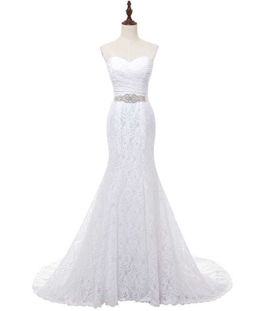 Pleat Bridal Wedding Gown White Lace Cheap Mermaid Wedding Dress 2018 Vintage Sash vestido De noiva 2018 SLD-W001