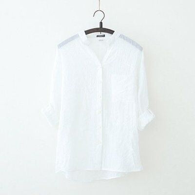 Dioufond Korean Style Women Shirts Autumn White V-Neck Casual Tops