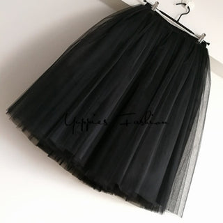 Quality 7 Layers 65cm Maxi Long Tulle Skirt Elegant Pleated Tutu Skirts Womens Vintage Lolita Petticoat faldas mujer Saias Jupe - Forefront Outfitters Inc.