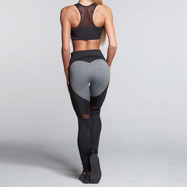 Fashion Heart Pattern Mesh Splice Leggings Athleisure Fitness Clothing Elastic Leggings Women Pants