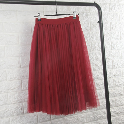 Tulle Skirts Womens Black Gray White Adult Tulle Skirt Elastic High Waist Pleated Midi Skirt 2018 - Forefront Outfitters Inc.