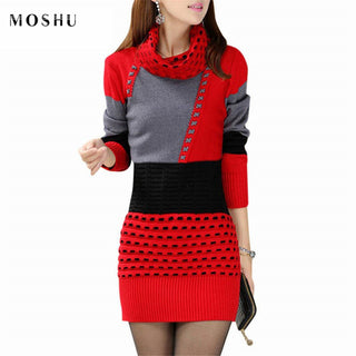 Patchwork Casual Full Sleeve Turtleneck Sexy Knitted Short Party Dress
