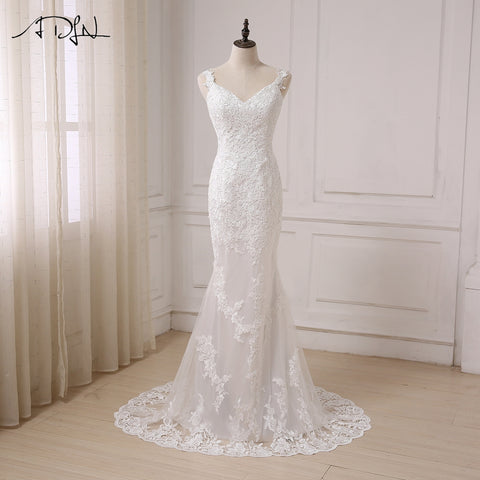 Sexy Mermaid Wedding Dress V-neck Open Back Fashion Lace White/ Ivory Bridal Gowns Sweep Train Vestido De Noiva In Stock - Forefront Outfitters Inc.