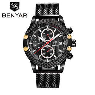 Sport Chronograph Fashion Watches Men Mesh & Rubber Band Waterproof Luxury Brand Quartz Watch Gold - Forefront Outfitters Inc.