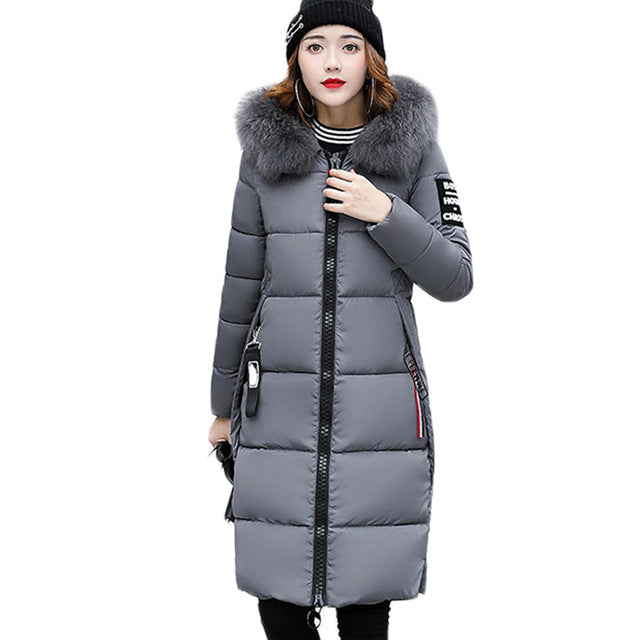 New 2018 Fashion Warm Winter Jacket Women Big Fur Thick Slim Female Jacket Winter Women Hooded Coat Down Parkas Long Outerwear
