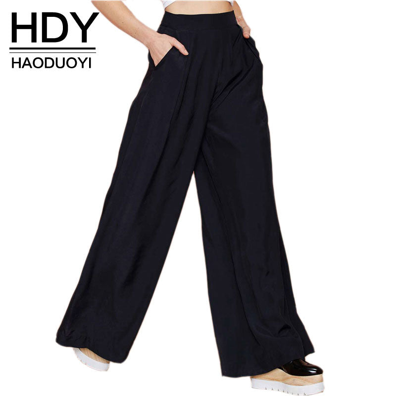 Women Black pants casual loose pants wide leg women pants for wholesale and free shipping Ladies Trousers - Forefront Outfitters Inc.