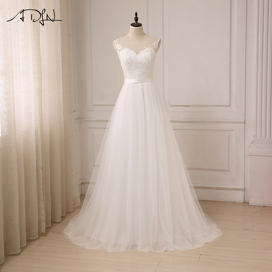 7b5cc767b1 Lace Wedding Dress O-Neck Tulle Boho Summer Beach Bridal Gown Bohemian Wedding  Gowns Robe