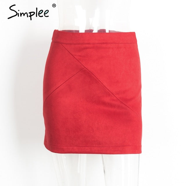 Autumn vintage leather suede pencil skirt winter 2018 Cross high waist skirt Zipper split bodycon short skirts womens