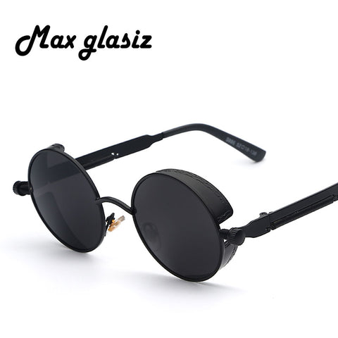 New 2018 Mirror Lens Round Glasses Goggles Steampunk Sunglasses Vintage Retro For men and women Hisper Eyewear