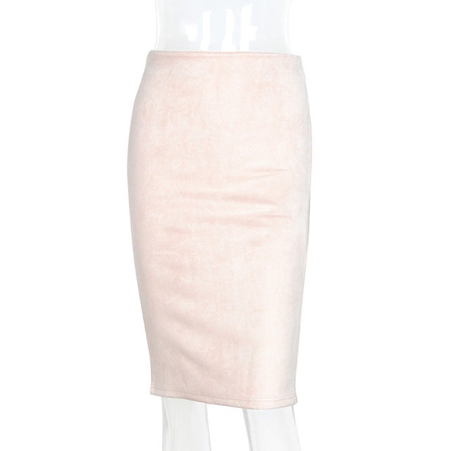 2018 Women Suede Midi Skirt Female Spring Summer Multi Color Basic Tube Bodycon Pencil Skirts Saia Femininas S161207
