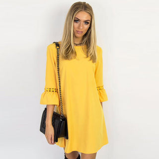 Casual O Neck A-Line Dress